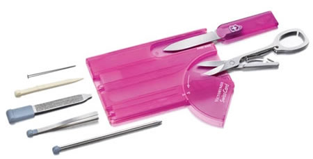 pink swiss card pocket knife accessory