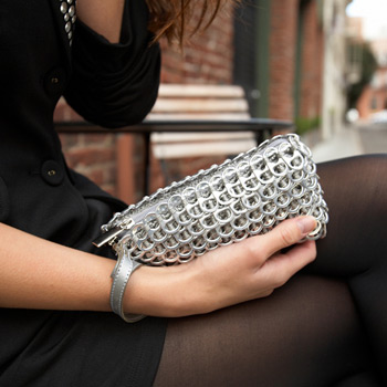 recycled soda can tabs puff clutch