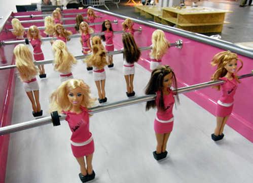 barbie doll foosball table
