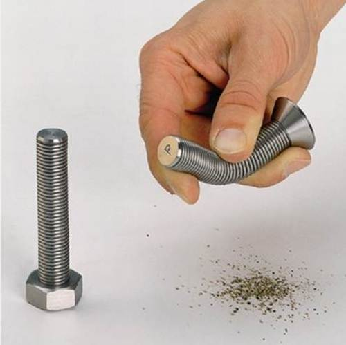 screw shaped salt and pepper shakers