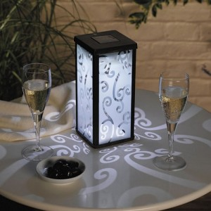 Frosted Scroll Solar Powered Lantern