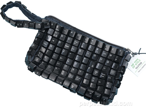 recycled keyboard clutch purse