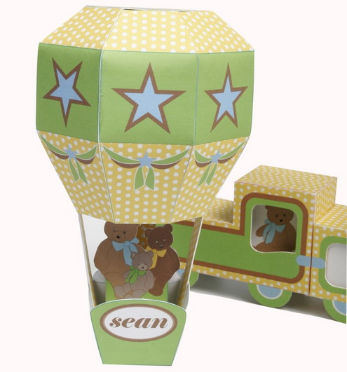 decorative paper train and air balloon2