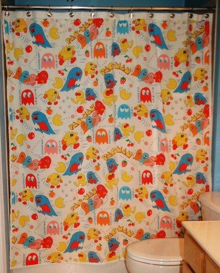 pacman shower curtain design for geeks 1
