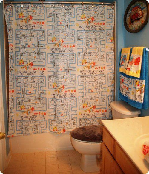 pacman shower curtain design for geeks 2