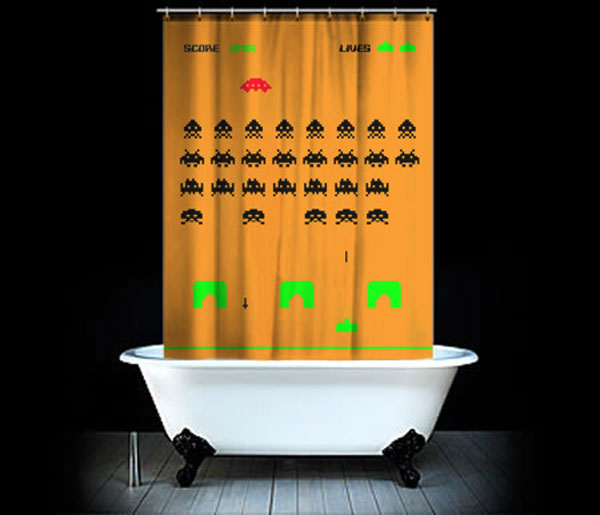 space invaders shower curtain design for geeks