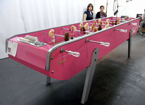 cool barbie doll foosball table