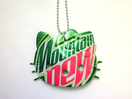 hello kitty necklace mountain dew soda can
