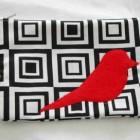 red twitter bird makeup pouch