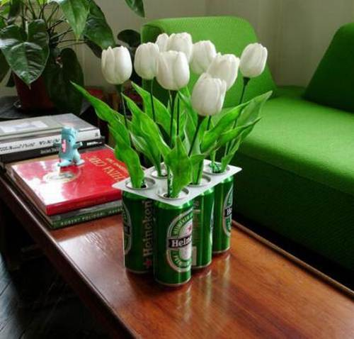 recycled beer cans flower planters