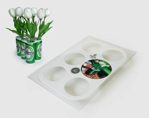beer cans flower vases