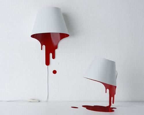red paint liquid lamp