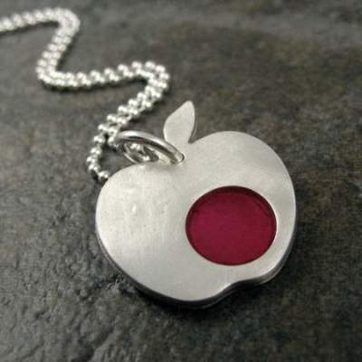 silver apple pendants