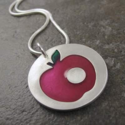 silver apple pendant