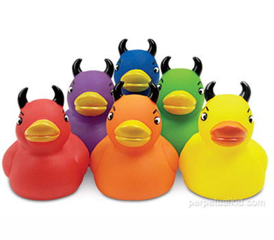 six colorful duckies