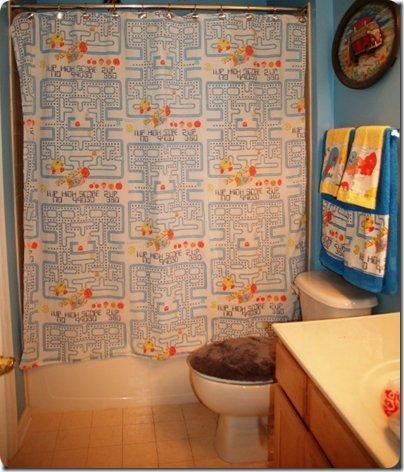vintage pacman shower curtain