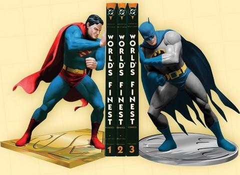 superman vs batman bookends design for comics