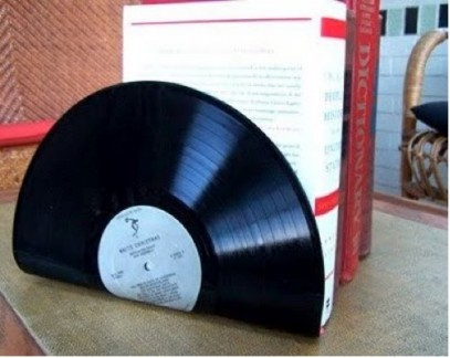 vinyl record bookend design