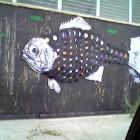 vinyl records giant fish artwork