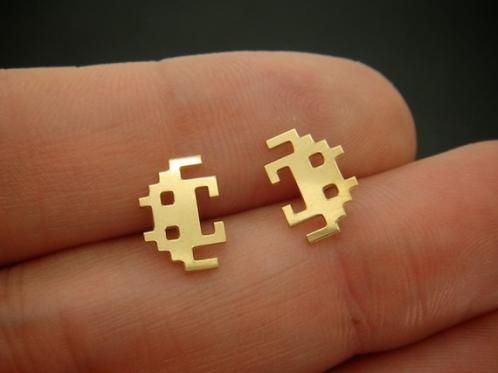 Space Invader Earrings Geeky Alien Ear Wear 2