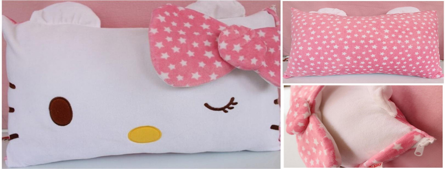 Hello Kitty Face Soft Pillowcase Pink