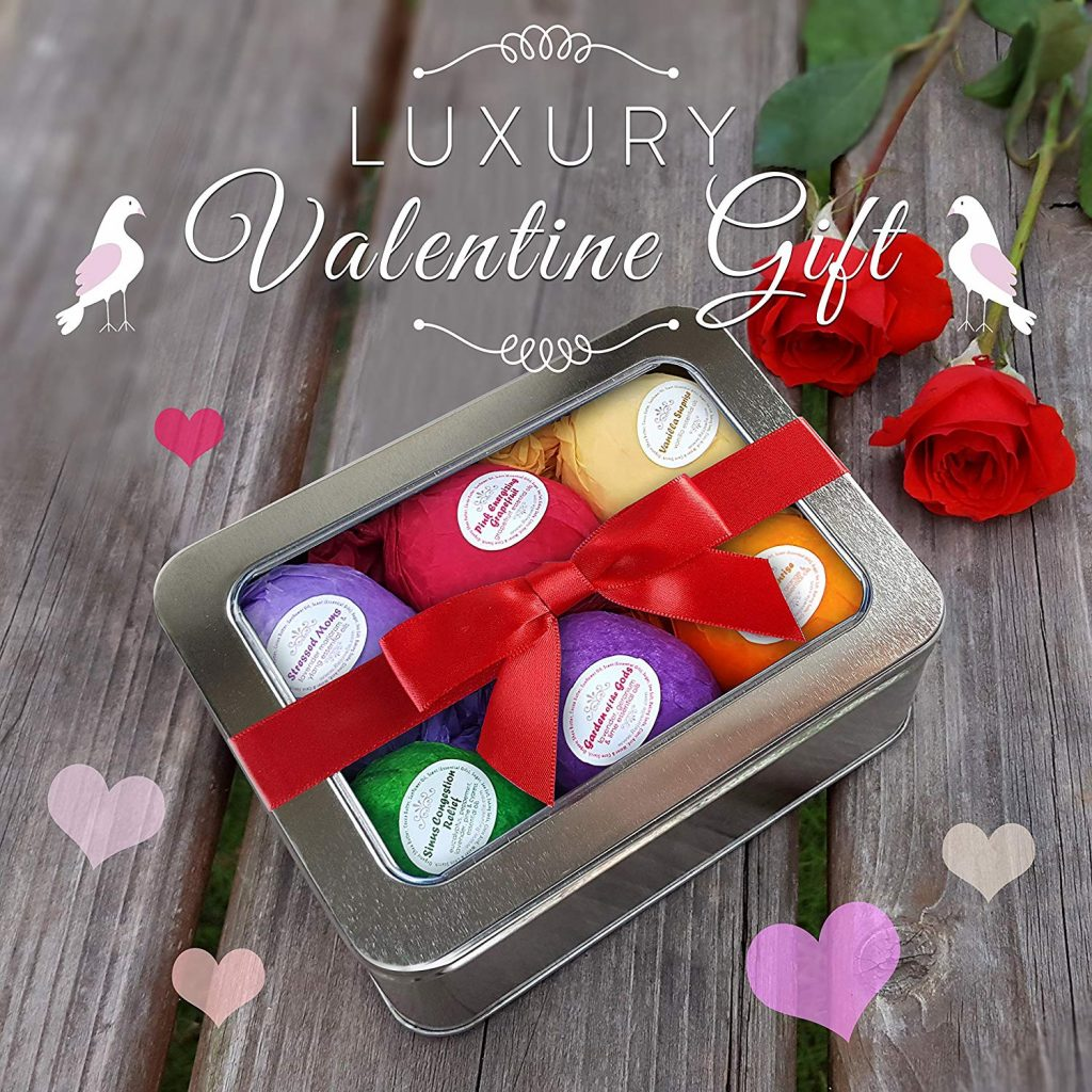 bath bomb gift set for valentines day, perfect gift for her.