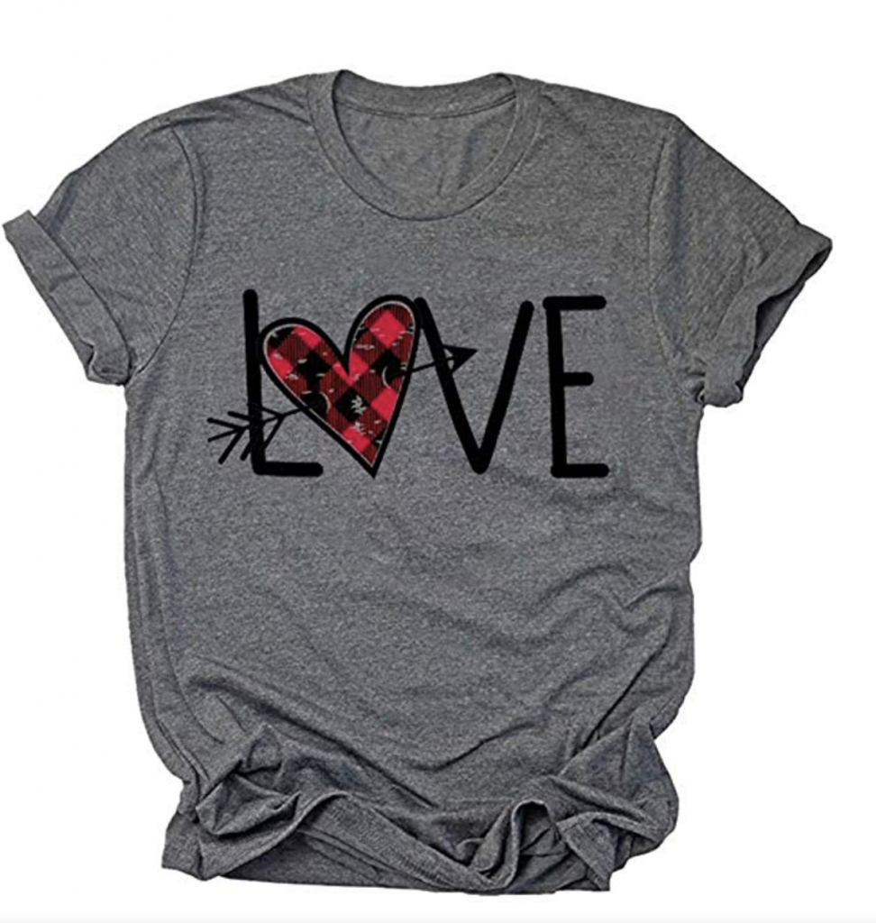 Valentine's day Shirt with Love text on it.