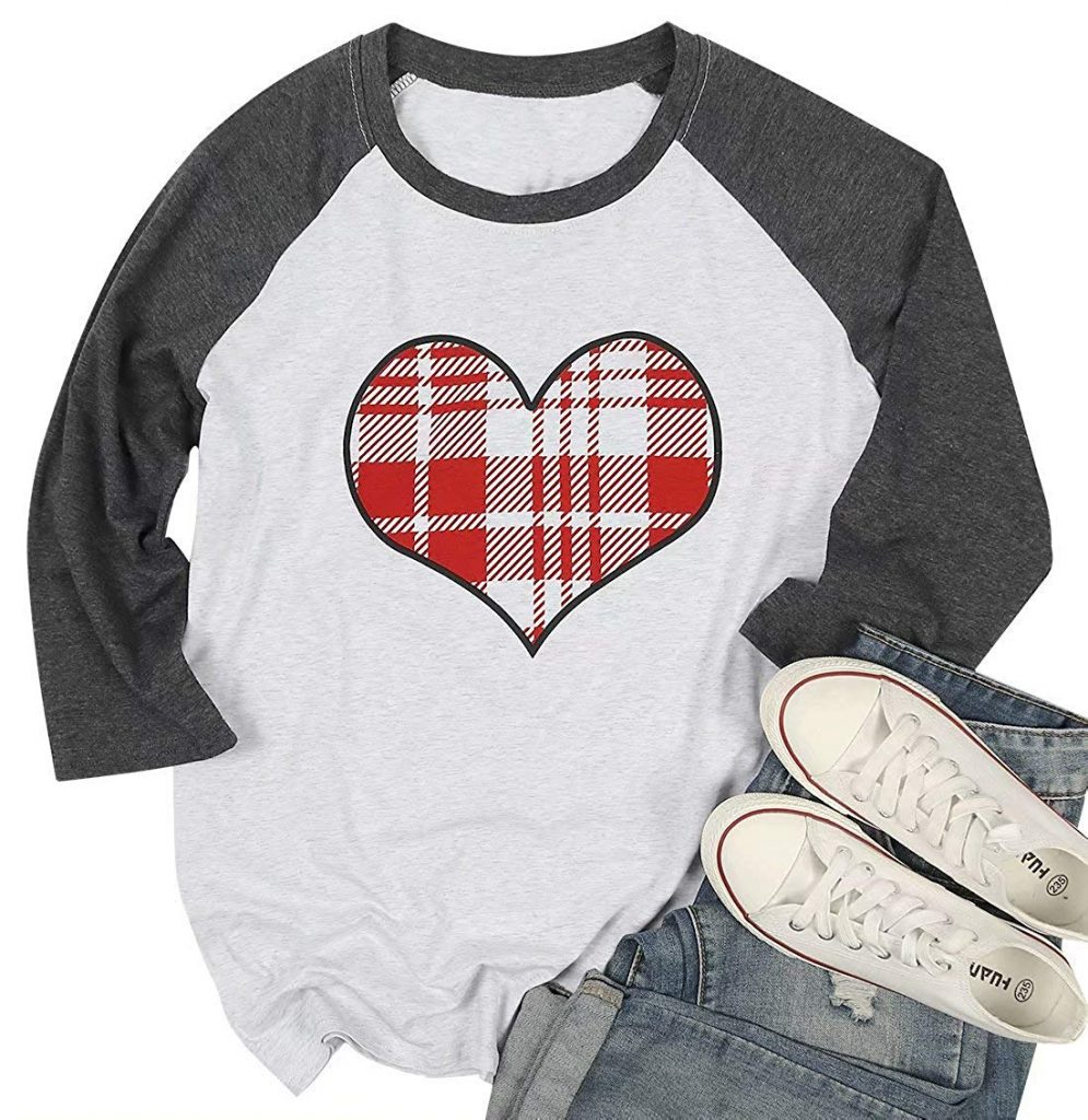 Long sleeve heart shape t-shirt